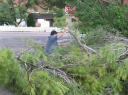 My husband trying to clear the street