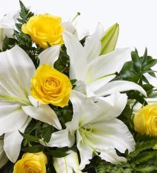 Rose-and-Lily-Spray-Yellow-and-White-3-Funeral-Flowers-London